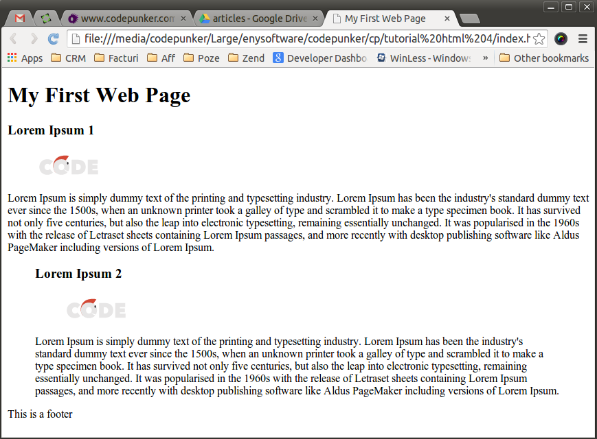 A screen shot of how your page should look like after you have applied the code above